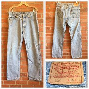Levis Strauss Blue Jeans 505 W34 L34 Light Wash